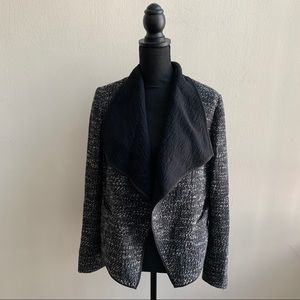 Ann Taylor Black and Gray Tweed Open Front Blazer